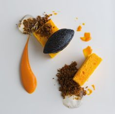 Carrot Cake With Black Olive Sorbet - lots of substitute here but such an exciting looking menu I have to try!