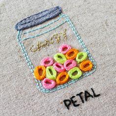 petal stitch candy jar hand embroidery Embroidery Stitches, Hand Embroidery, Coin Purse, Jar, Candy, Blanket, Beautiful, Crochet, Crafts