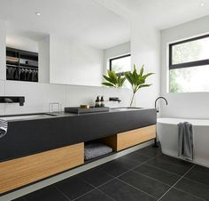 Minimalist, modern and monochrome 🖤 this sophisticated bathroom from features our Simplicity Nero Natural Tile. Aluminum Windows Design, Aluminum Awnings, Bathroom Windows, Bathroom Renos, Washroom, Modern Bathroom, Small Bathroom, Grey Bathrooms, Upstairs Bathrooms