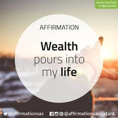 Learn to manifest the law of attraction in your life ----------------------------------------------------- quotes Prosperity Affirmations, Daily Positive Affirmations, Morning Affirmations, Money Affirmations, Good Thoughts, Positive Thoughts, Positive Vibes, Positive Quotes, Positive Motivation