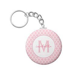 Pink Quatrefoil Monogram Keychain - sweet gift idea for a girl.