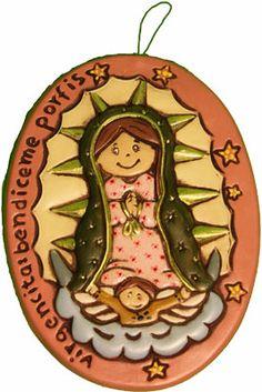 Virgen de pared de cerámica pintada a mano. Medidas:20x15cm www.barenka.com