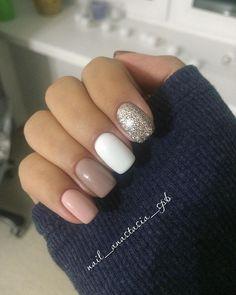 How to easily remove a glitter nail polish - My Nails Glitter Nail Polish, Nude Nails, White Nails, My Nails, Short Nails Shellac, Shellac Nail Polish, November Nails, Hair Skin Nails, Nagel Gel
