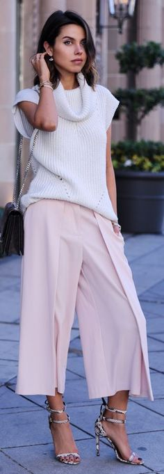 Light Pink Pleated Culottes. By Vivaluxury. Lolobu