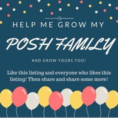 Calling ALL posters!!! Let's grow together! I am new to posh and am overwhelmed by the number of supportive women here! I want to grow my posh family and help you grow yours too!! Like or comment on this post and invite your friends! Happy Poshing! Can't wait to meet you! Other