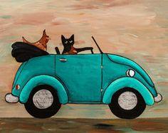 Picking up Chicks Original Cat Folk Art Painting by KilkennycatArt (Ryan Conners) Art Fantaisiste, Black Cat Art, Black Cats, Wombat, Naive Art, Cat Drawing, Whimsical Art, Cat Love, Crazy Cats