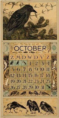 An adorable Vintage Halloween calendar Halloween Images, Holidays Halloween, Vintage Halloween, Halloween Crafts, Halloween Decorations, Halloween Blocks, Crow Art, Raven Art, Bird Art