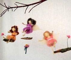 Felt Fairy mobile, Waldorf inspired needle felting doll on swing, natural wool wood decoration, housewarming, magic angel, Nursery mobile