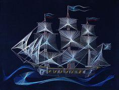 "Ship ""Peaceful century"", Russia. String art by Russian artist Olga Voronova"