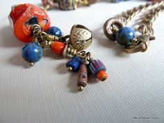 Azmari Necklace, African Ethnic Organic Beads, Blue & Orange Gemstones, Lapis Lazuli, Lg Chunk Coral, Artisan Lampwork, Brass India Bell