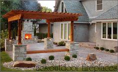 Outdoor Fireplaces | Decorative Concrete Patios | Integral Color Stamped Concrete | Firewood Boxes
