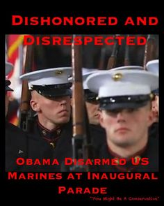 "Marine Rifles Disabled at Inauguration??? - ""The bolts have been removed from the rifles rendering them unable to fire a round. Apparently Obama's Secret Service doesn't trust the USMC."" Why would he be afraid of the USMC unless you have need to be!?! Not only that he's a coward!"