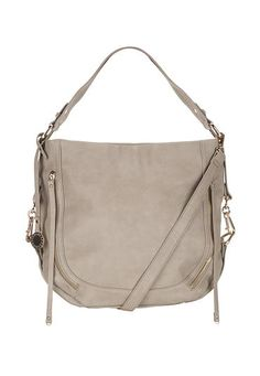 zipper front round bottom crossbody satchel in gray (original price, $59) available at #Maurices