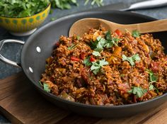 Kid-friendly: Spanish Rice with Beef from our blog -- easy, hearty, one-pan supper.