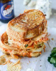 Buffalo Chicken Grilled Cheese (with Beer Cheese Fondue!)
