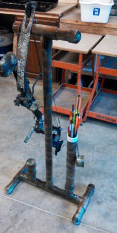 "Compound Bow Stand made from 2"" pvc pipes."