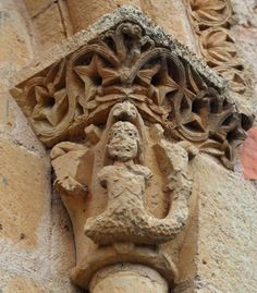 Capitel con Sirena, Peñarrubias de Pirón - Ermita románica de la Virgen de la Octava