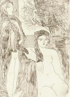 huariqueje:    Rembrandt Et Deux Femmes (Rembrant and Two Women) - Pablo Picasso 1934Etching  British Museum