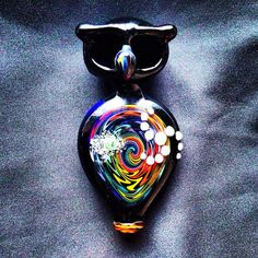 Glass Owl Double Bowl Pipe with Rainbow Reversal by BoGlass on Etsy, $99.00
