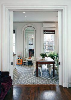 Mosaic tile floor. Also in Design Sponge at Home.