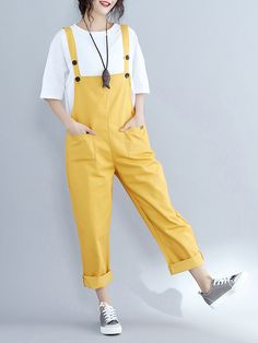 Casual Women Loose Jumpsuits Pure Color Trousers Overalls for Females Casual Women Loose Jumpsuits Pure Color Trousers Overalls for Females Hot Deals >>>. Casual Outfits, Cute Outfits, Fashion Outfits, Fashion Ideas, Female Outfits, Women's Fashion, Trousers Women, Pants For Women, Mode Vintage