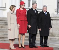 King Philippe and QUeen Mathilde of Belgium make their introductory visit to Germany: The meed with German President Joachim Glauck and his partner  Daniela Schad 2/17/14