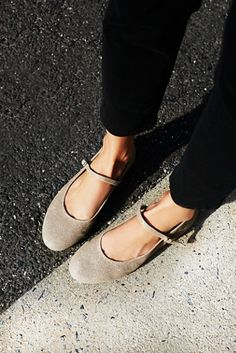 Mary-Jayne Flat | Free People Classic Mary Jane flats featuring a single adjustable strap and a round toe. In either a sparkly leather or soft suede.