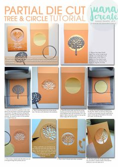 Juana Ambida Independent Stampin' Up!Partial Die Cutting using Beautiful Branches Thinlits for Thoughtful Branches CardPartial die cut tree and circle tutorial TutorialsTips on how to cut partial dies - use post-it notes to help!Die cutting - this is Card Making Tips, Card Making Tutorials, Card Making Techniques, Making Ideas, Karten Diy, Embossing Techniques, Rubber Stamping Techniques, Up Book, Card Making Inspiration