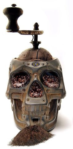 Skull Coffee Grinder This coffee grinder is actually an awesome photo manipulation by digital artist AZRainman. How we wish it was real!
