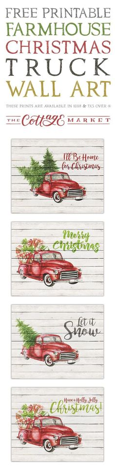 FREE Farmhouse Style Christmas Printables. Love these vintage red trucks filled with presents and trees.