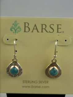 Barse-Hammered-Sterling-Silver-Turquoise-Drop-Earrings