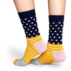 Stripe Dot Sock (13,575 KRW) ❤ liked on Polyvore featuring intimates, hosiery, socks, polka dot hosiery, striped cotton socks, patterned hosiery, dot socks and patterned socks