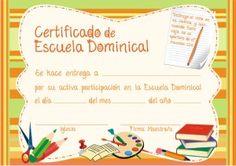 Certificados de Escuela Dominical (x 10 u) - www.riosdeaguaviva.com.ar