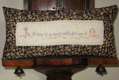 Little Boys and Dirt  Tuck Pillow by LaughRabbitJr on Etsy, $22.00
