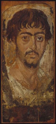 Funerary portrait of a man, encaustic paint on panel, c. 170 AD, Egyptian. Museum of Fine Arts Boston accession no. 02.825