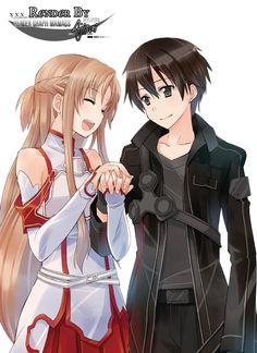Render Sword Art Online - Renders Sword Art Online Kirito Asuna Garcon Femme Cheveux Noir Chatain Couple                                                                                                                                                                                 Plus