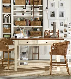 Shelving And Baskets Keep Bring Order To Home Offices. #potterybarn Project  Table, Pottery