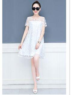 Dotted Pattern Chiffon Loose Summer Dress Mini Dresses For Women, Summer Dresses, Chiffon, Lace, Pattern, Tops, Fashion, Silk Fabric, Moda