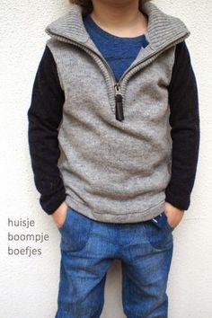 recycled half zip woolen sweater - huisje boompje boefjes