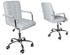Modern Office White Leather Chair Hydraulic Swivel Executive Computer Desk Task #Unbranded #OfficeChair