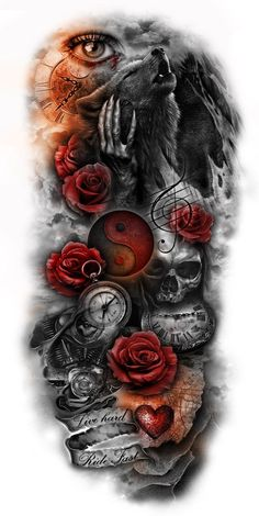 Galerie tattoo designs gallery - Tattoos And Body Art Galerie Wolf Tattoos, Skull Tattoos, Body Art Tattoos, Tattoo Drawings, New Tattoos, Tattoos For Guys, Henna Tattoos, Tattoos Pics, Circle Tattoos