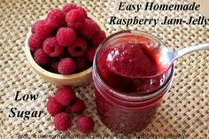The easy Low Sugar Raspberry Jam-Jelly is bursting with berry flavor and can be made with fresh or frozen raspberries. One of our family favorites. Raspberry Jam Recipe Low Sugar, Homemade Raspberry Jam, Raspberry Recipes, Jelly Recipes, Jam Recipes, Canning Recipes, Canning 101, Banana Jam, Strawberry Banana