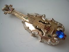Vtg-Coro-Craft-Sterling-Silver-Violin-Pin-Brooch-w-Gold-Vermeil-Rhinestones