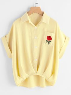 Shein Cuffed Rose Embroidered Dip Hem Shirt With Chest Pocket Button Collar Shirt, Collar Shirts, Shirt Blouses, Short Sleeve Collared Shirts, Short Sleeve Blouse, Outfits Con Camisa, Yellow Blouse, Yellow Top, Floral Blouse