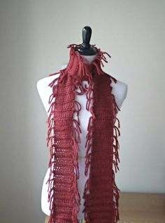 Red Fringe Scarf - Handknit Skinny Layering Scarf Muffler - Scarlet Red Long Scarf with Fringe