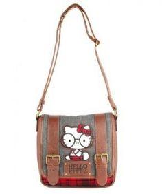 Loungefly's: Nerd Hello Kitty Tweed Messenger Bag