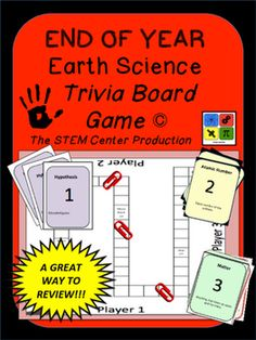 Earth ScienceEnd of the Year Trivia Board GameThe game is designed for groups of three students at each station. Simply print the game cards and game board. The students read off the cards and after a correct response, the player moves their paper clip until reaching the finish line.
