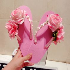 Cute pink flowers slippers summer thick bottom fashion tide beach pearl sandals flat handmade women flip flops