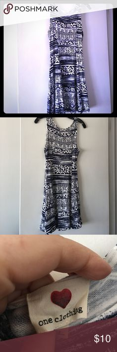 Aztec print sleeveless jersey 👗 One clothing brand size large blue & white Aztec print jersey dress. Sleeveless and form fitting. one clothing Dresses