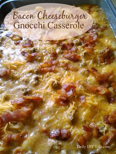 Bacon Cheeseburger Gnocchi Casserole - A hearty inexpensive meal with tons of flavor! | DailyDIYLife.com